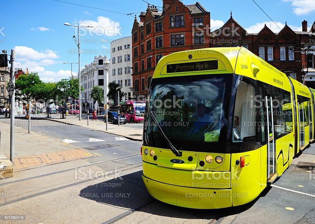 Modern tram, Nottingham. stock photo