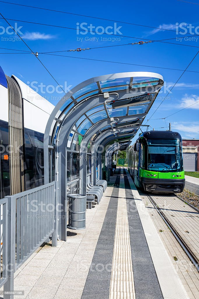 Modern Tram on the platform, Szczecin, Poland stock photo
