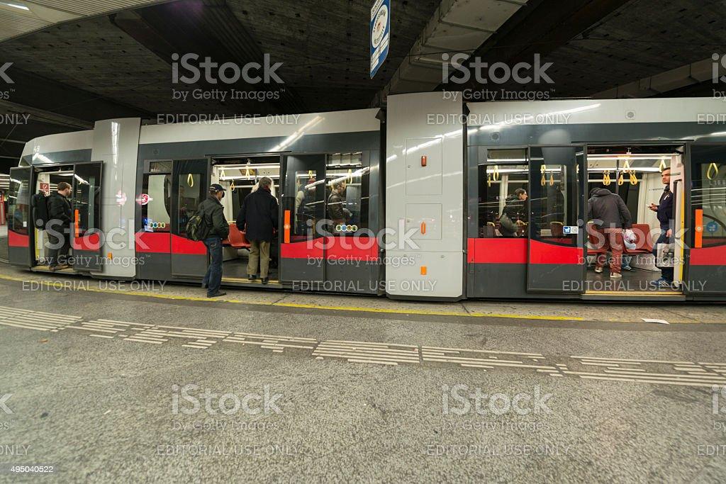 Modern Tram Vienna stock photo