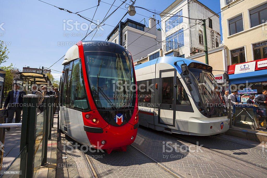Modern Trams Sultanahmet, Istanbul stock photo