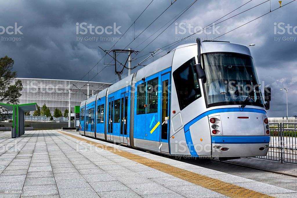 Modern Tramway on the station platform stock photo