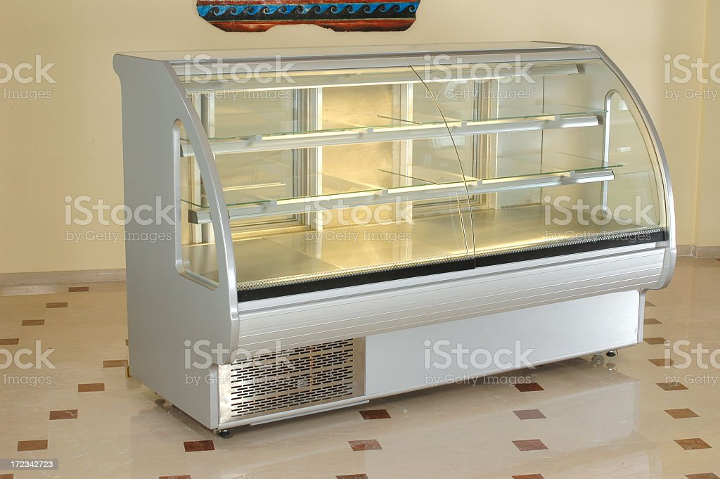 A modern transparent refrigerator for food industry royalty-free stock photo