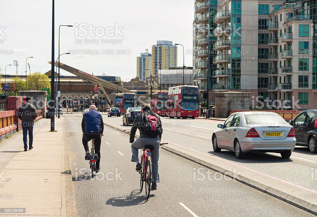 Modern transport in central London stock photo