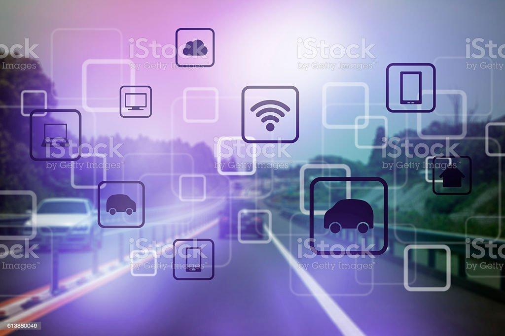 modern transportation and communication network stock photo