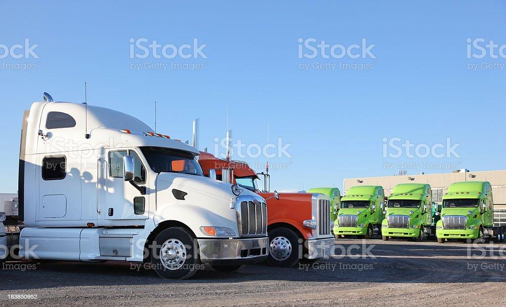 Modern Transporter Parked Trucks stock photo