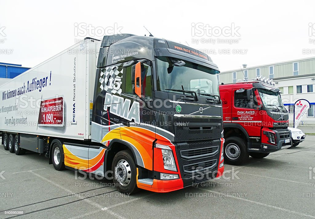 Modern truck with refrigerated trailer stock photo