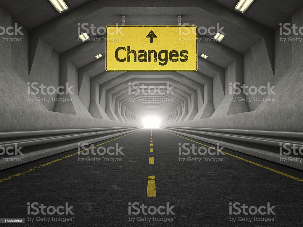 modern tunnel and changes yellow sign royalty-free stock photo