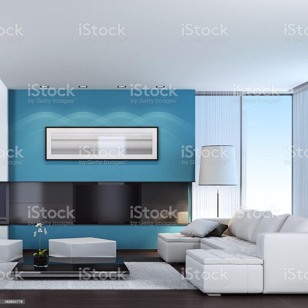 Modern TV & Fireplace Interior royalty-free stock photo