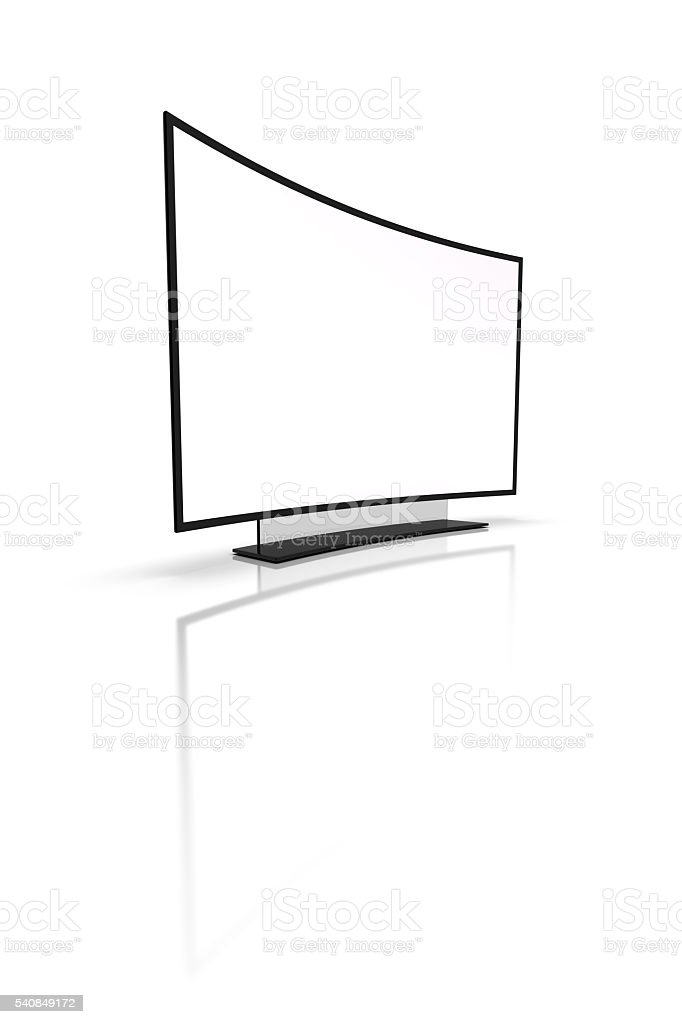 Modern TV on a white background. 3d rendering. stock photo