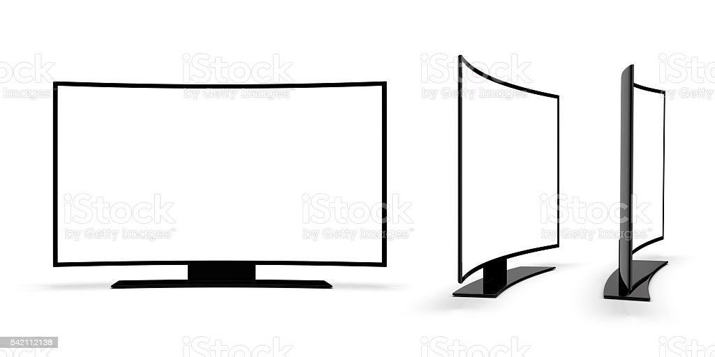 Modern TV on a white background. stock photo