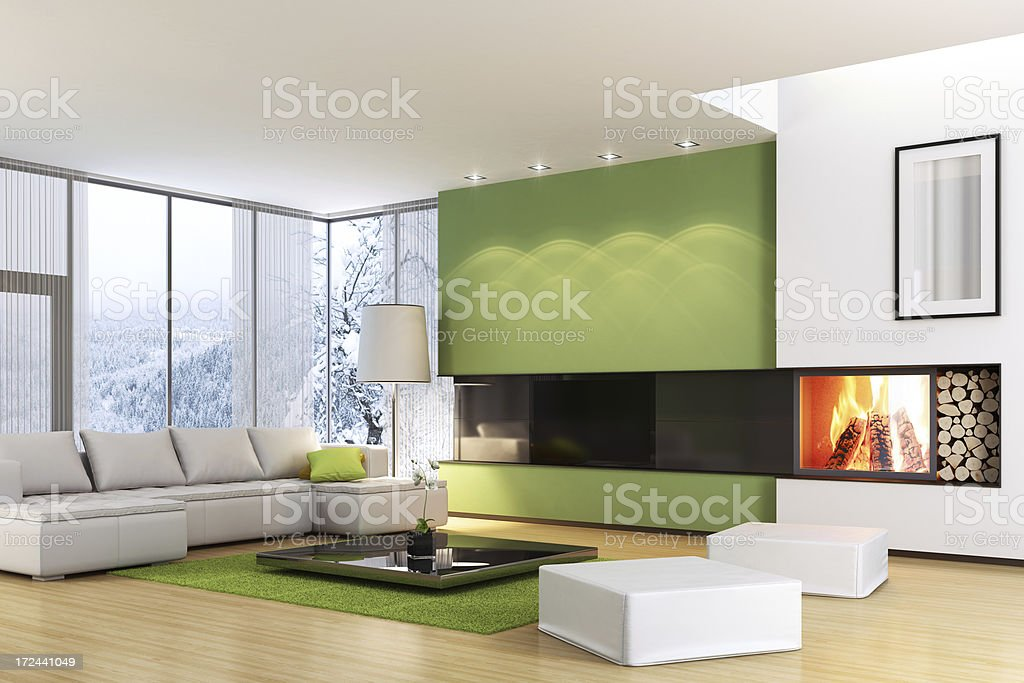 Modern TV Room with Fireplace stock photo