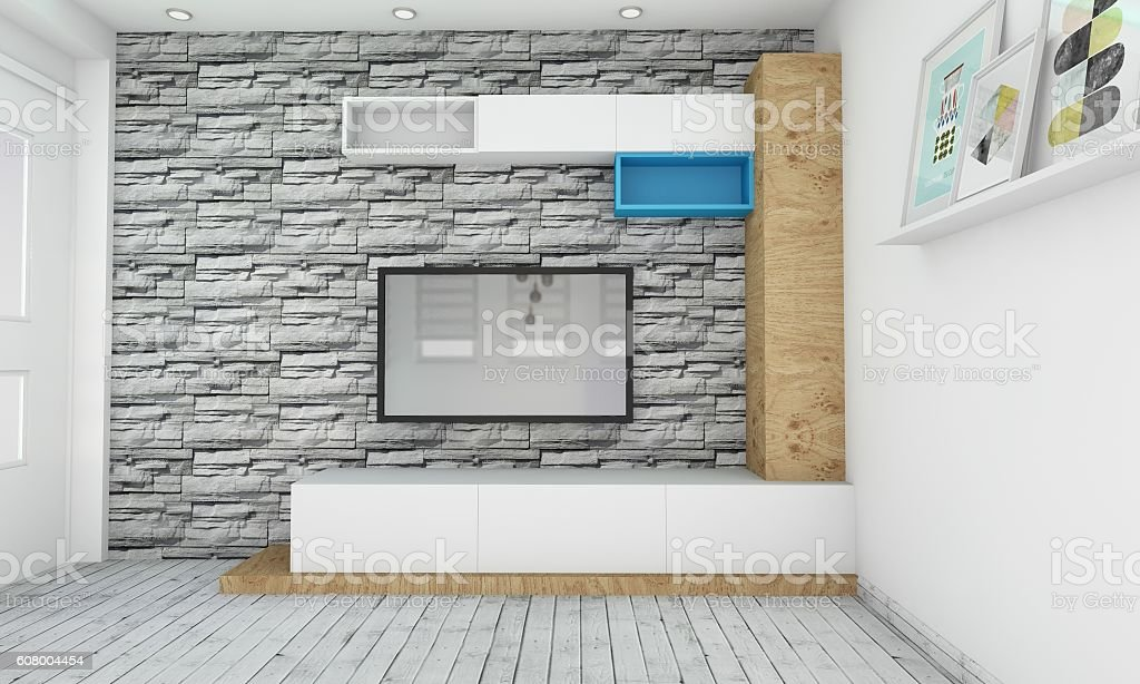 Modern TV stand design stock photo