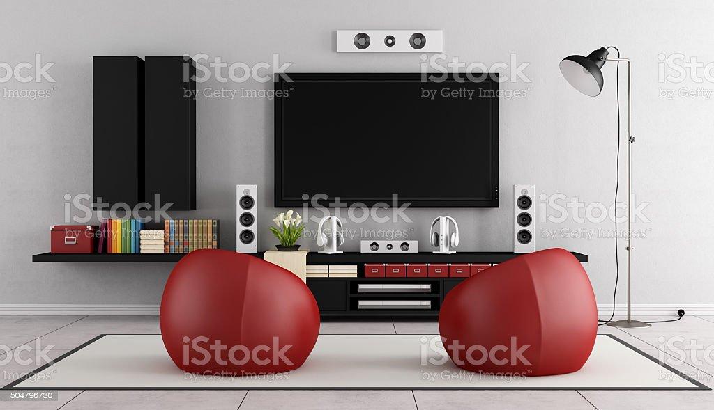 Modern TV wall unit stock photo