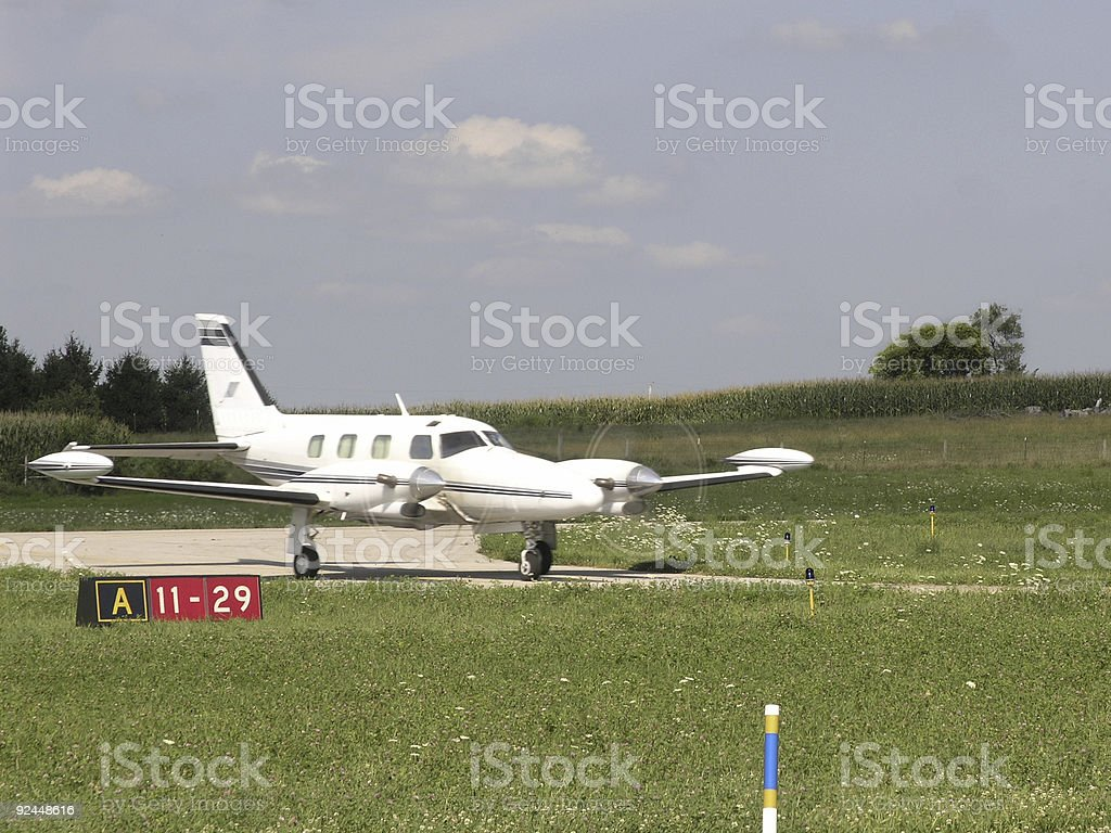 Modern Twin Engine Turboprop Taxiing royalty-free stock photo