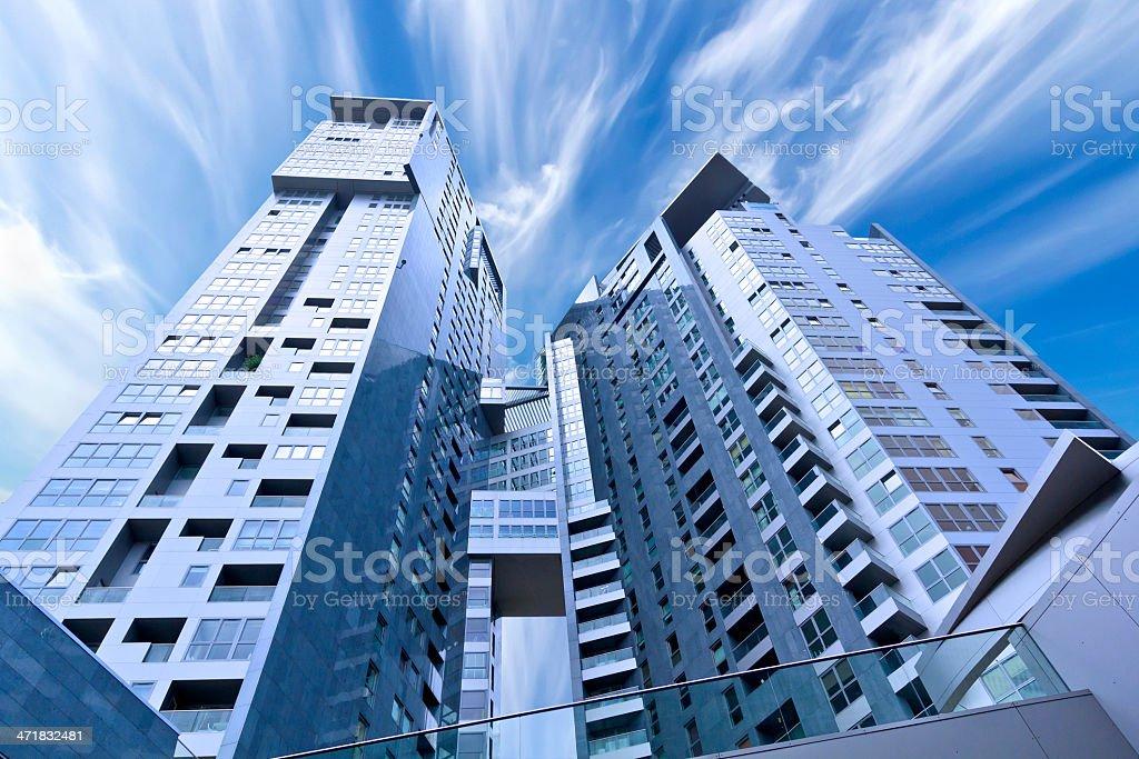 Modern twin skyscrapers, Gdynia, Poland royalty-free stock photo