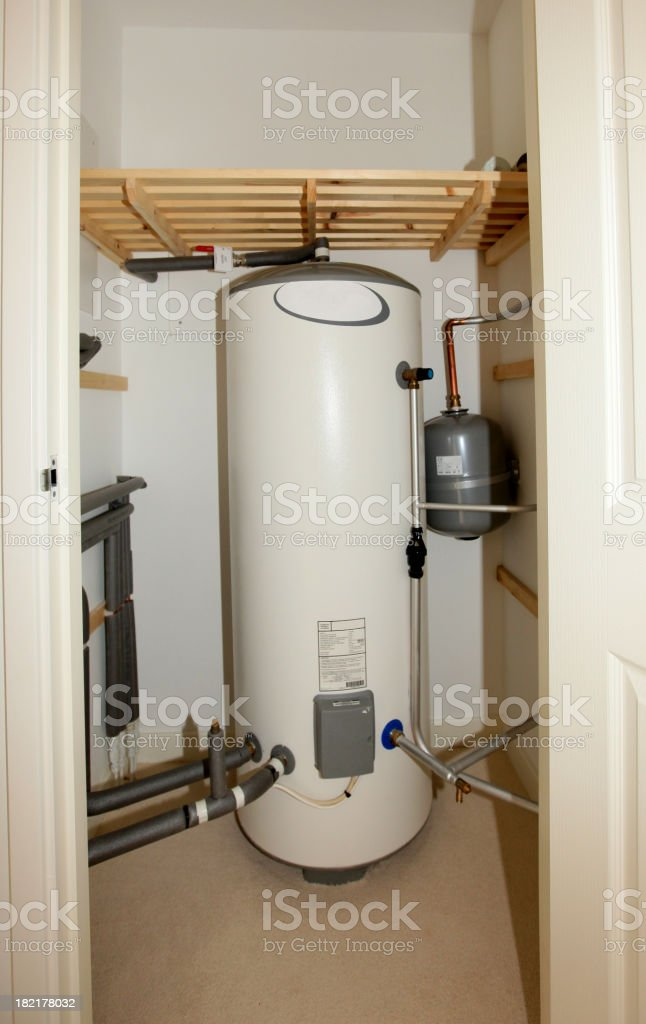 Modern unvented indirect hot water system storage tank stock photo