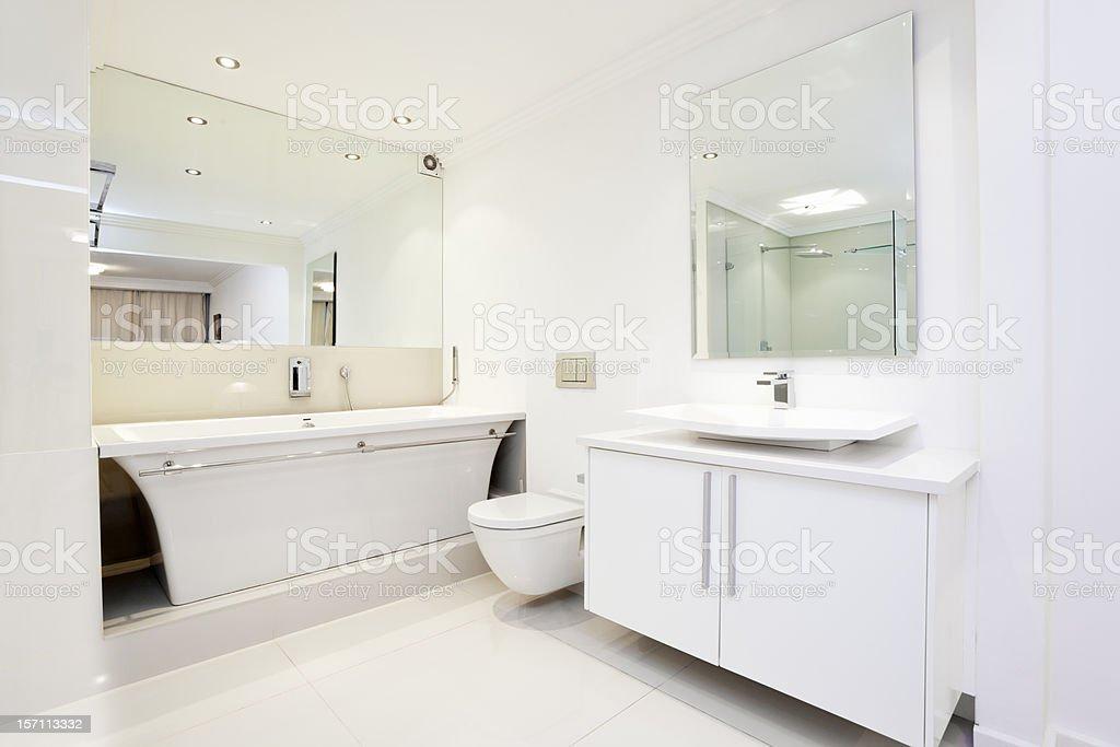 Modern, upmarket, all white bathroom stock photo