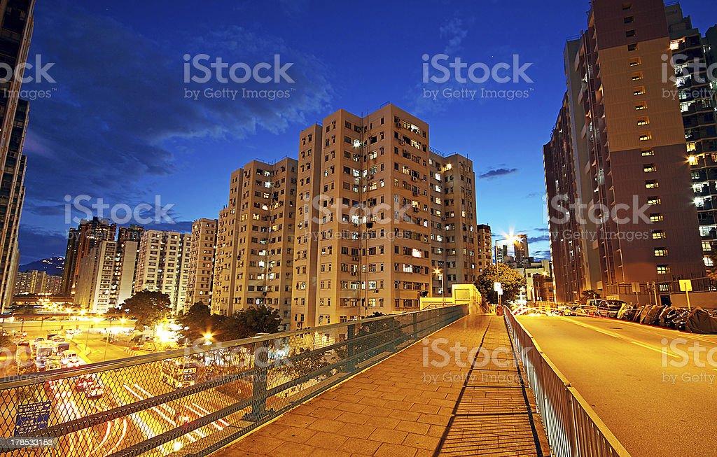 Modern Urban City with Freeway Traffic at Night, hong kong royalty-free stock photo