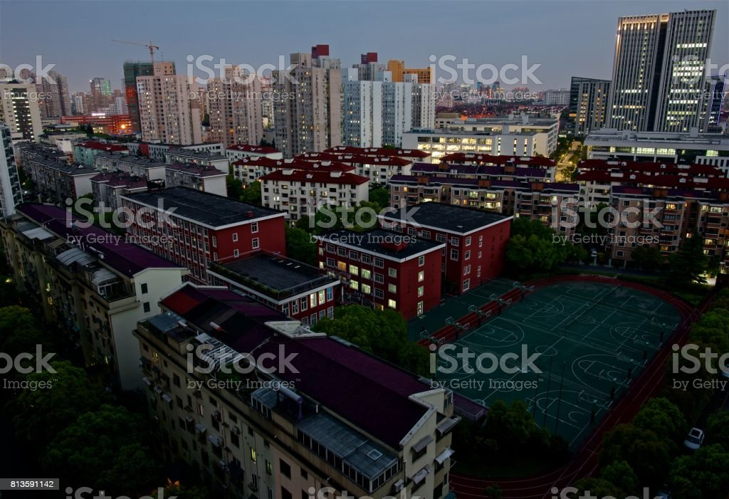 Modern urban living–from day to night stock photo
