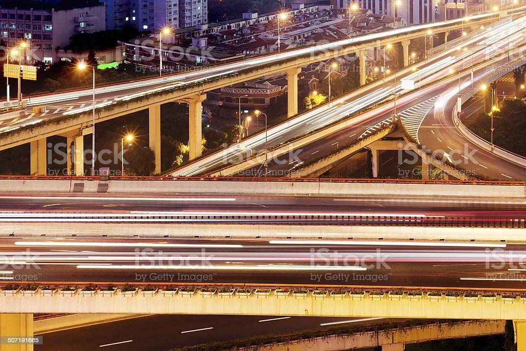 Modern urban viaduct at night royalty-free stock photo