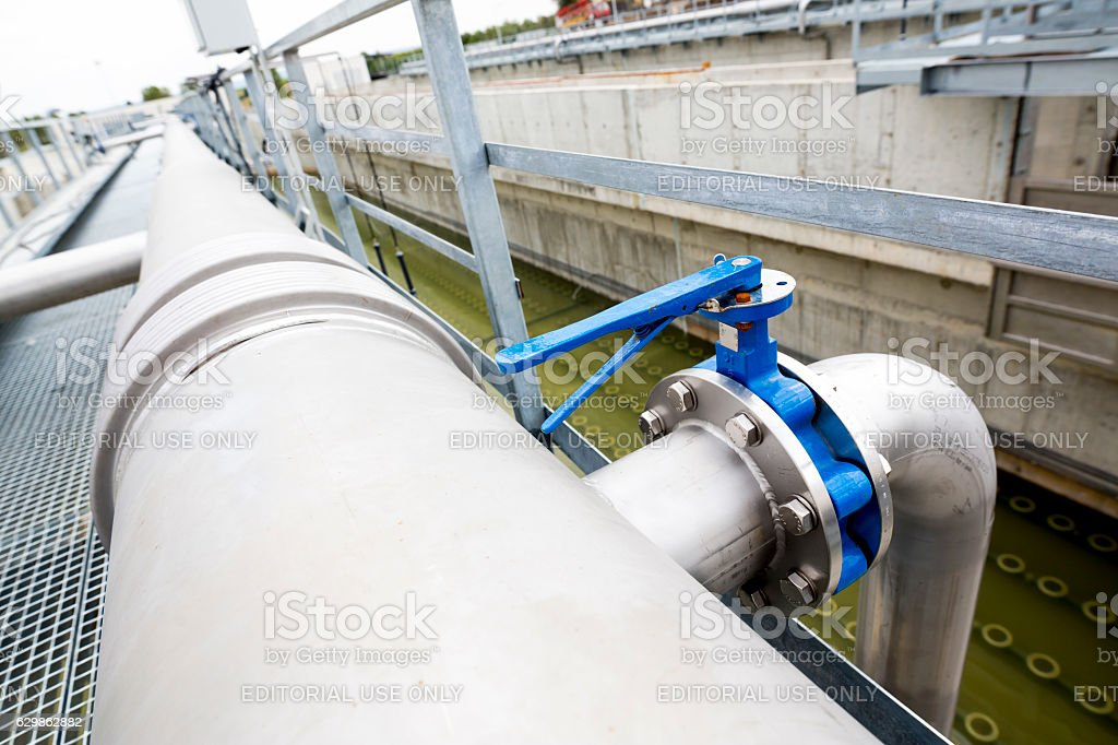 Modern urban wastewater treatment plant stock photo