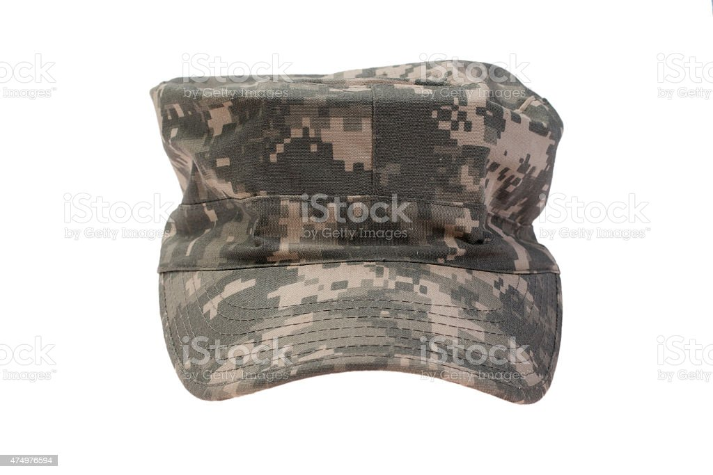 modern us army camouflaged cap on a white background stock photo
