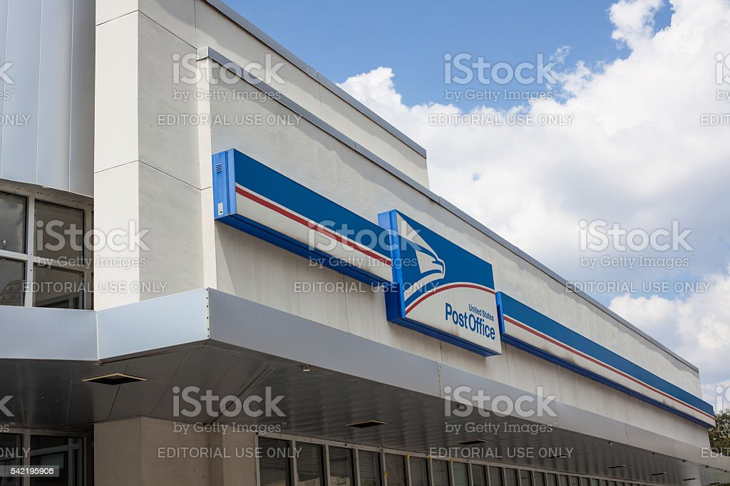 Modern US Post Office exterior building and sign stock photo