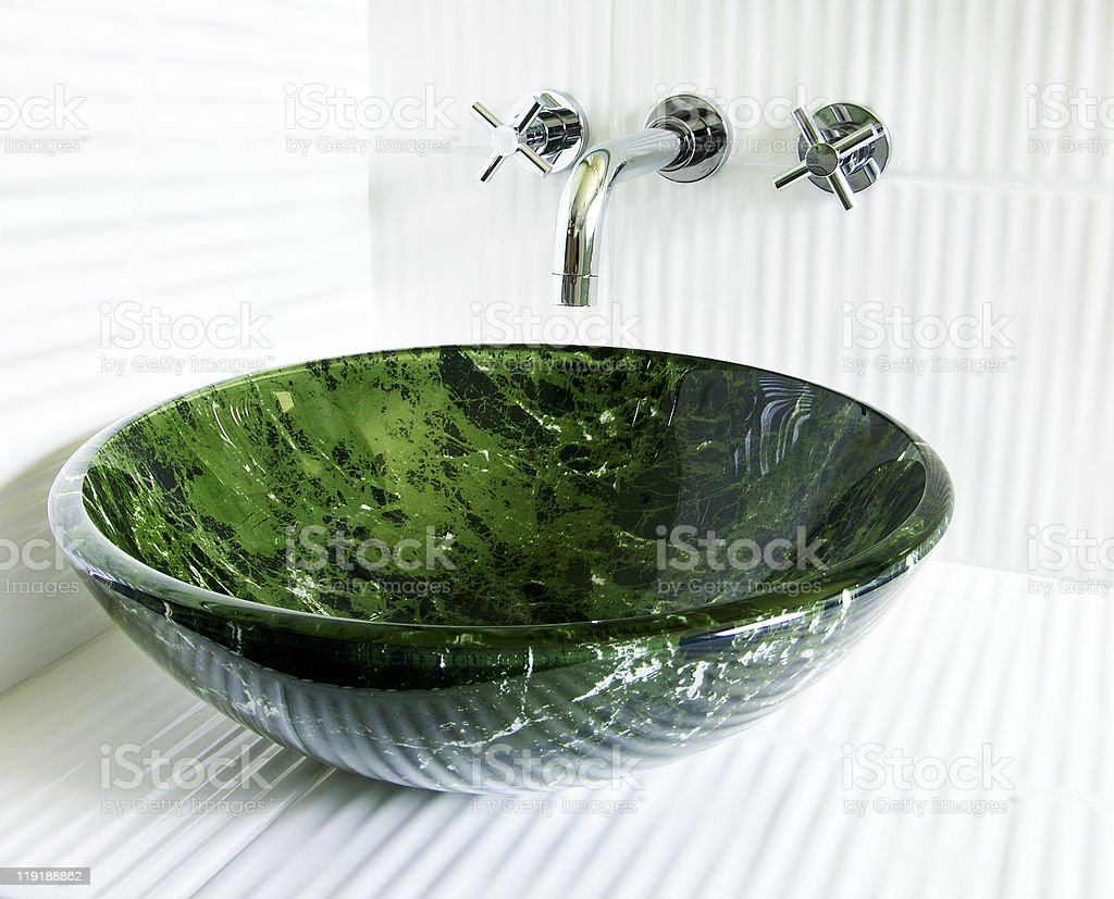 Modern vessel sink and faucet stock photo