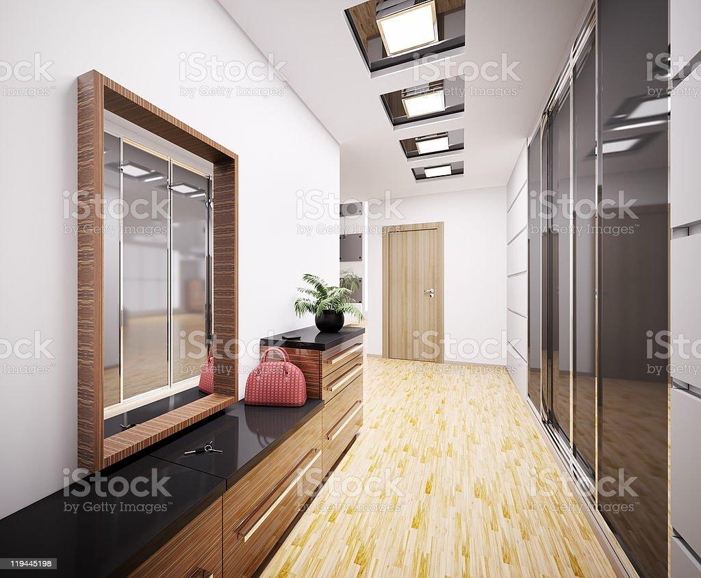 Modern vestibule interior 3d stock photo