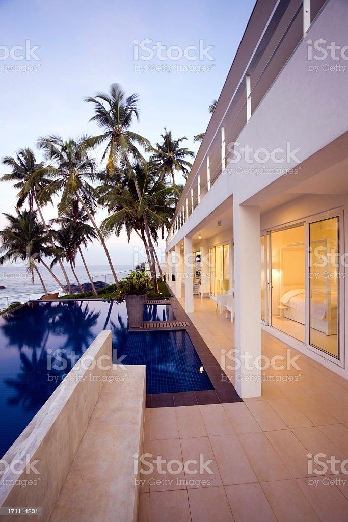 Modern villa at sunset in Sri Lanka royalty-free stock photo