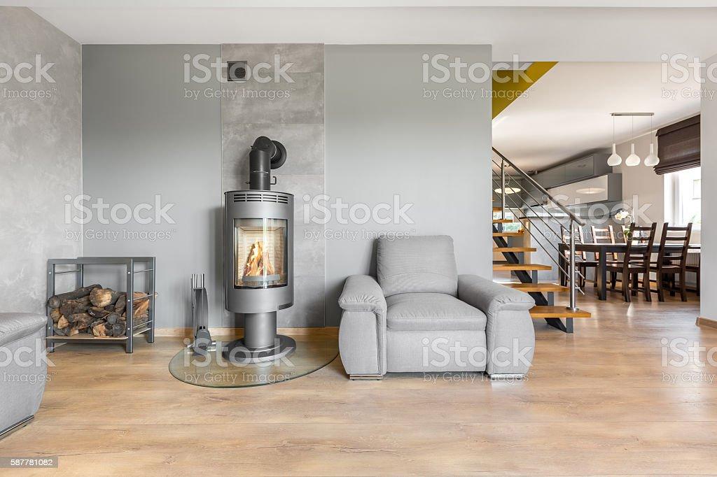Modern villa interior with fireplace idea stock photo