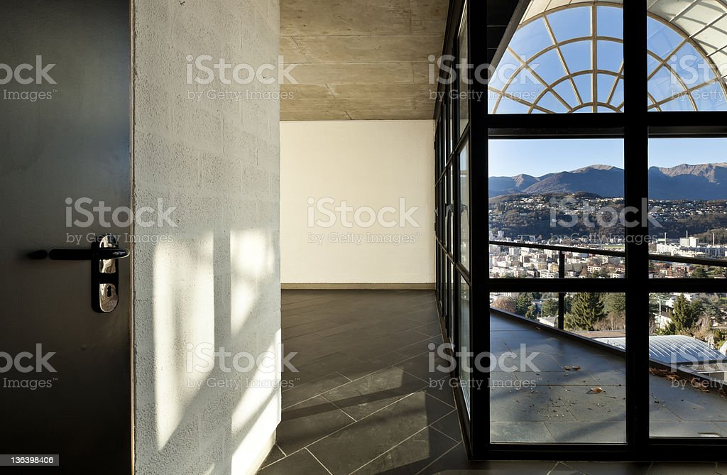 modern villa large window with panoramic view, interior royalty-free stock photo