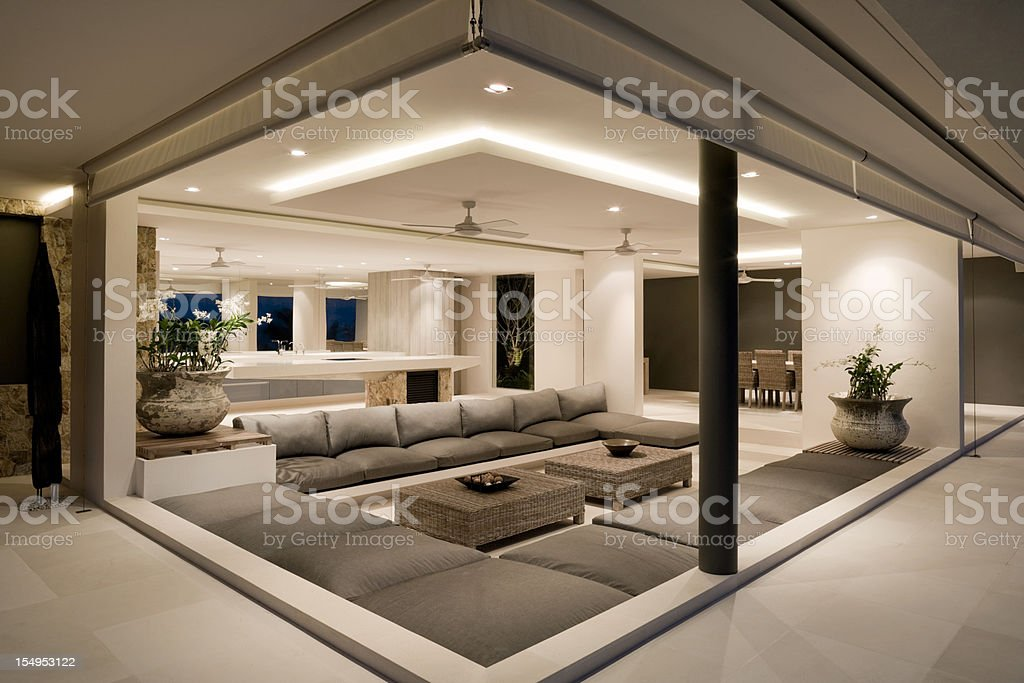 Modern Villa Living Room stock photo