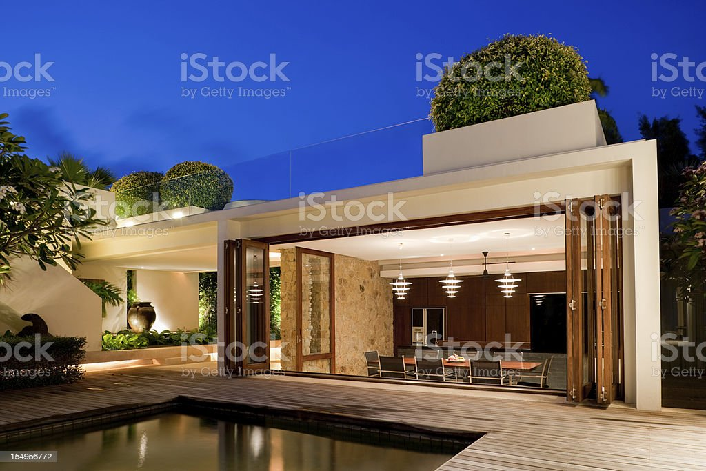 Modern Villa With A Pool royalty-free stock photo
