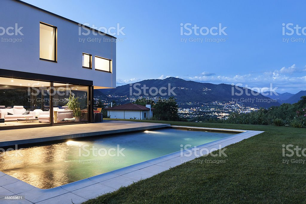 Modern villa with pool stock photo