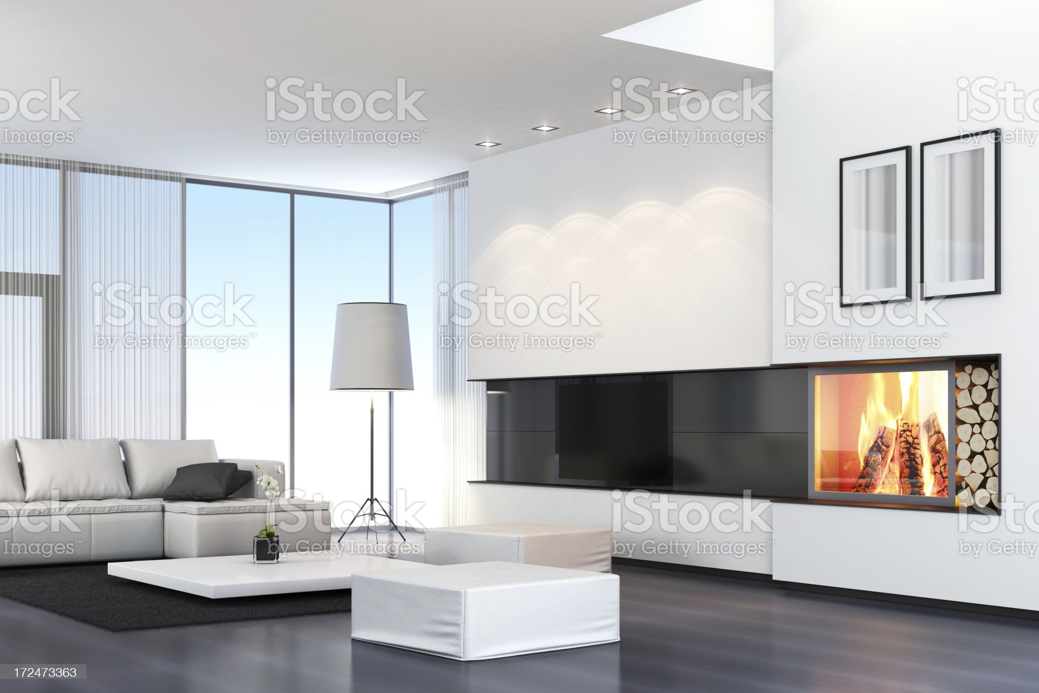 Modern Villa with TV & Fireplace royalty-free stock photo