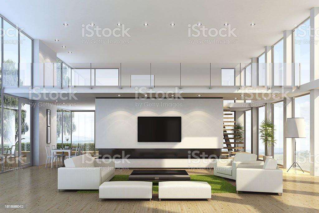 Modern Villa with TV stock photo