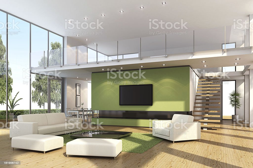 Modern Villa with TV royalty-free stock photo