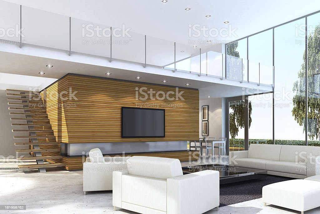 Modern Villa with TV royalty-free stock photo