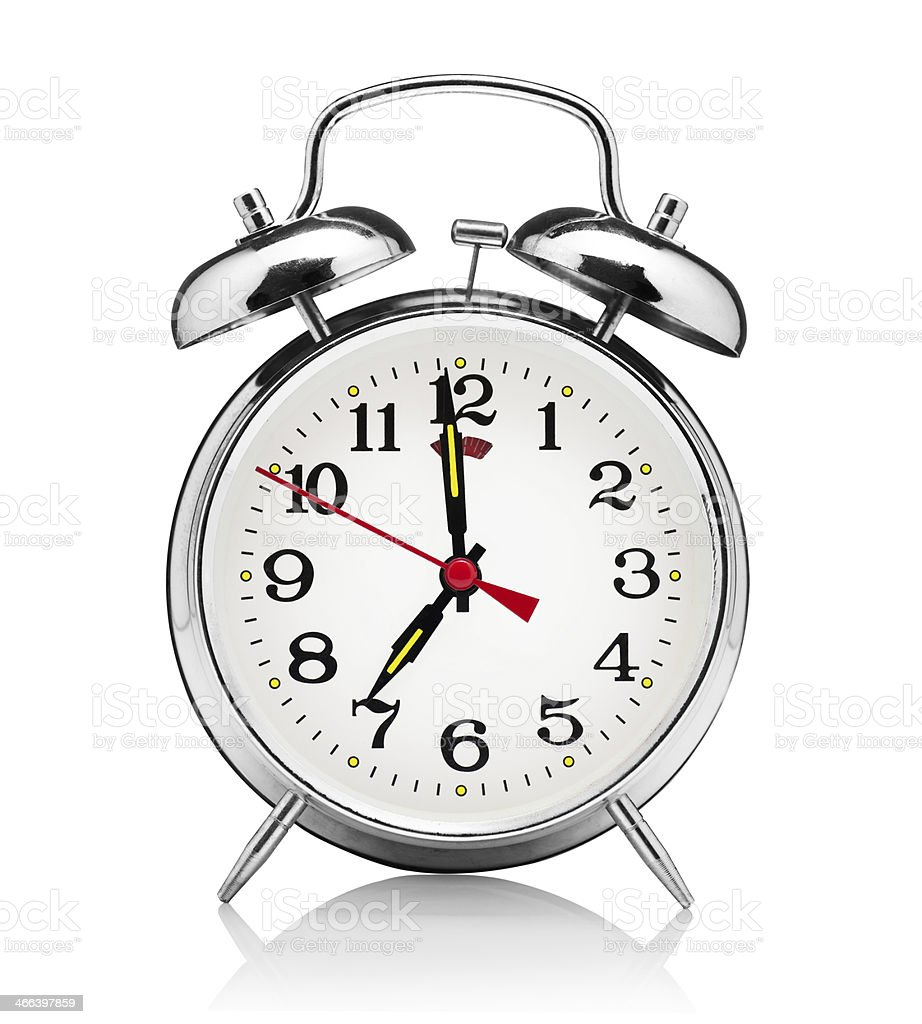 A modern vintage style stainless steel alarm clock stock photo
