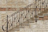 Modern Vintage Style Stone Staircase With  Wrought Iron Ornate H