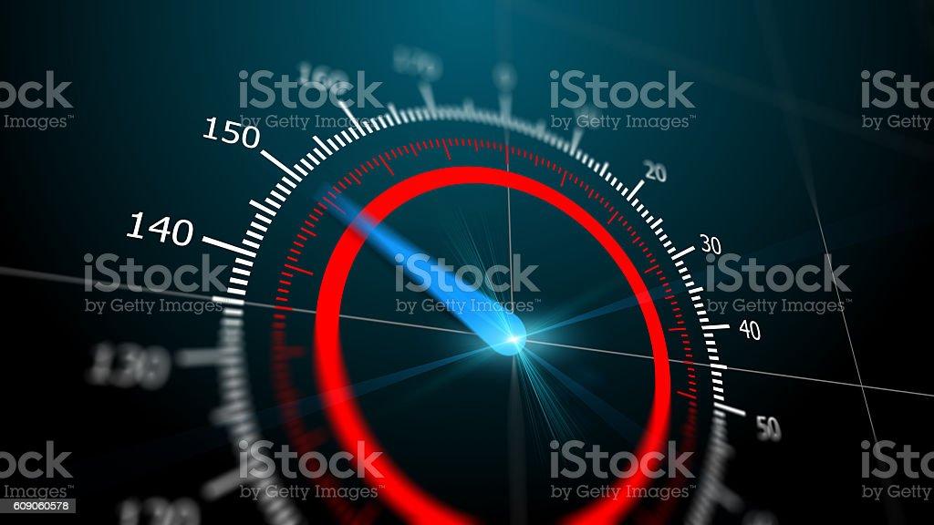 Modern virtual speedometer stock photo