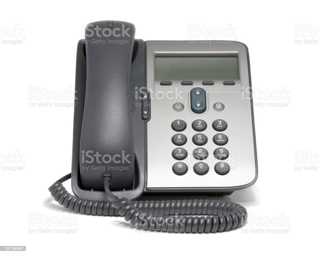 Modern VoIP phone (isolated on white) stock photo
