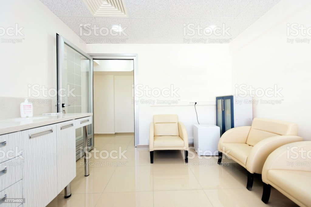 Modern waiting room in a clinic stock photo