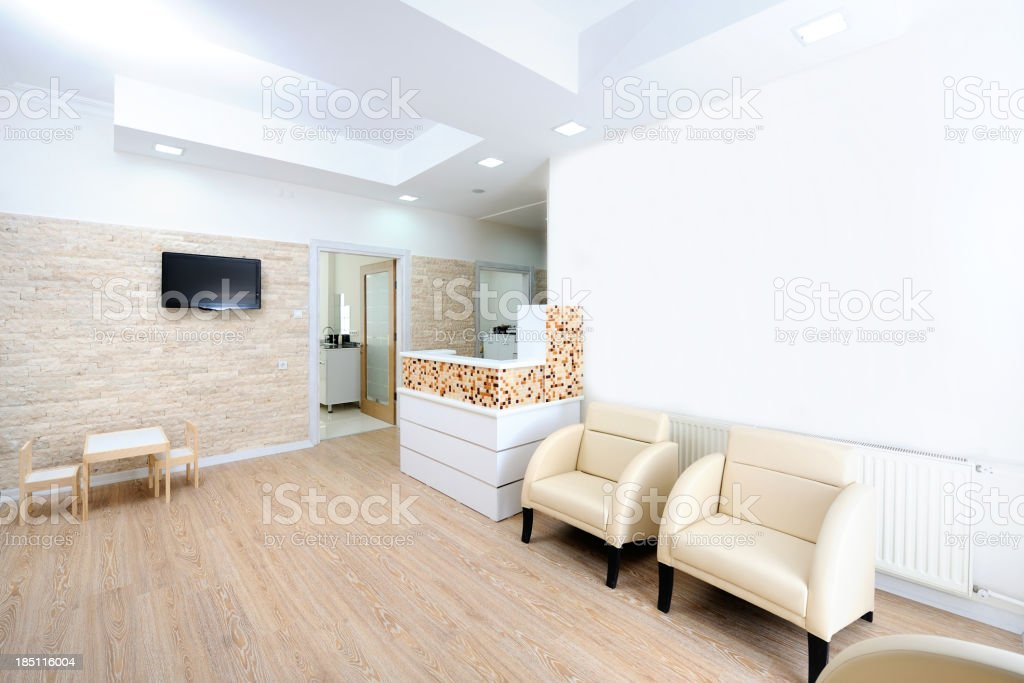 Modern waiting room in a dentist office stock photo