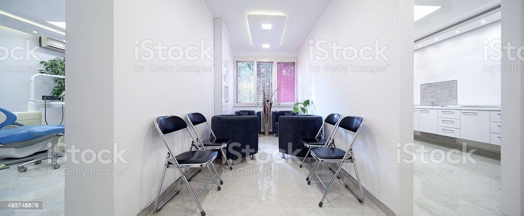 Modern waiting room in dental clinic stock photo