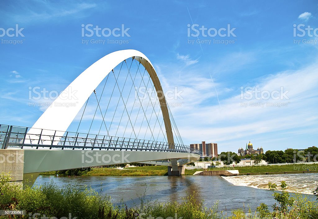 Modern Walking Bridge and Capitol stock photo