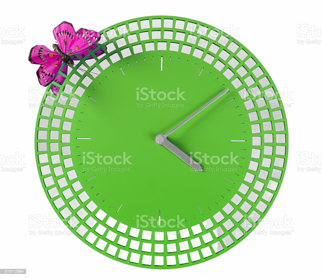 Modern Wall Clock with Silk Butterfly stock photo