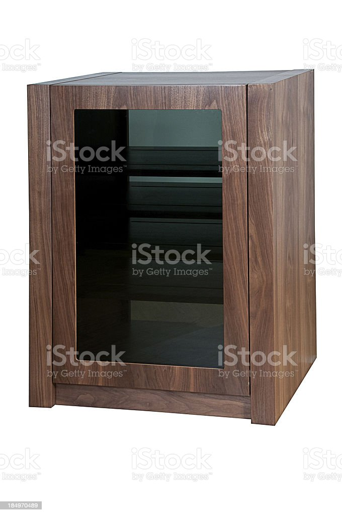 Modern Walnut Wooden and Glass Cabinet isolated on white royalty-free stock photo