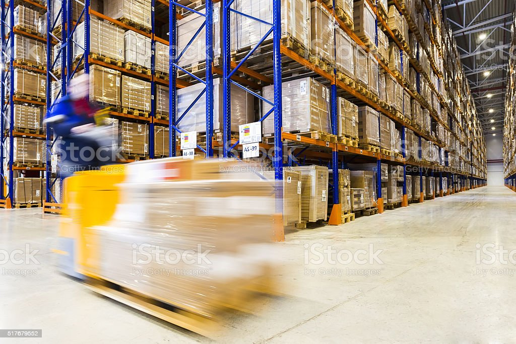 Modern warehouse interior stock photo